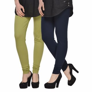 Vnu Green And Dark Blue Cotton Leggings Set Of 2
