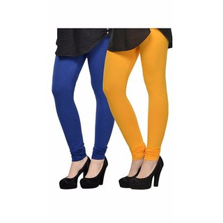 Vnu Blue And Yellow Cotton Leggings Set of 2