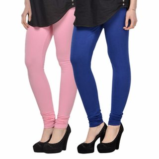 Vnu Pink And Blue Cotton Leggings Set of 2
