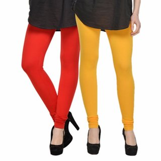 Vnu Yellow And Red Cotton Leggings Set of 2