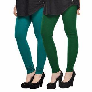 Vnu Green Cotton Leggings Set of 2