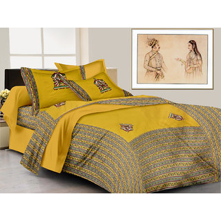 Lali Prints patchwork Traditional queen Print 1 King Size bedsheet and 2 pillow covers