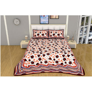 100 items White & Black Floral Printed Exclusive Cotton Double Bedsheet With 2 Pillow Cases