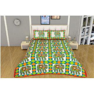 100 items Traditional Animal Printed Cotton Green & White Double Bedsheet With 2 Pillow Cases