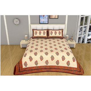 100 items Nature Floral Printed Beige & Orange Cotton Double Bedsheet With Two Pillow Cases