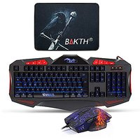 BAKTH Unique Adjustable Wired Rainbow Illuminated LED Backlight USB Gaming Keyboard And Mouse Combos Bundle + BAKTH Customized Large Mouse Mat
