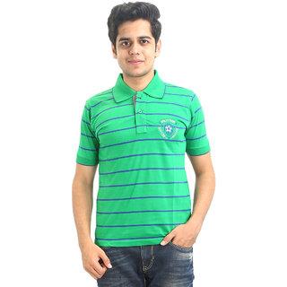 GO-ON Green Polo Neck Half Sleeve T-Shirt For Men