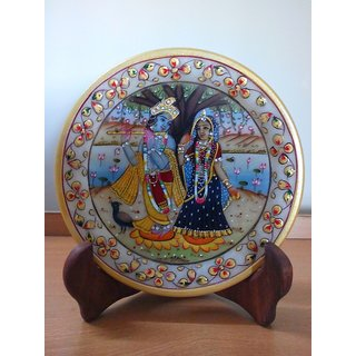 Radha Krishna Painting on Marble with Wooden Stand - l