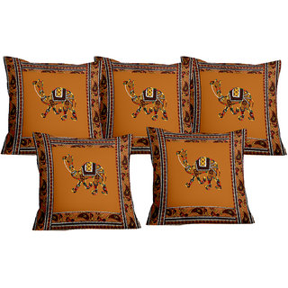 Lali prints Patch work Camel Royal Print Cushion Cover Set of 5