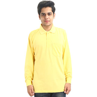 GO-ON Yellow Polo Neck Long Sleeve T-Shirt For Men
