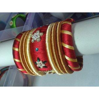 Red  Gold Color Bangles Set (9 Pieces)  L0013