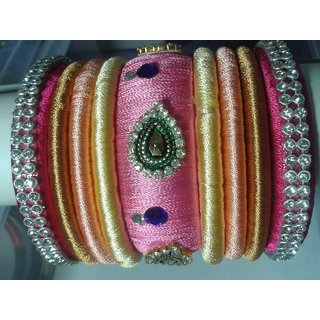 Light Pink Shade Bangles Set (9 Pieces)  L0007