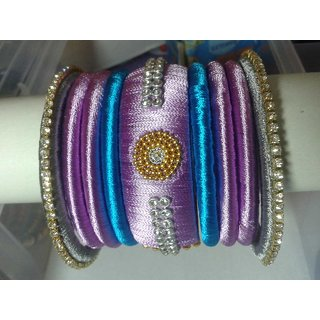 Purple  Sky Blue Color Bangles Set (9 Pieces)  L0002
