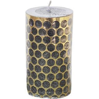 Round Black Sparkle Pillar Candle
