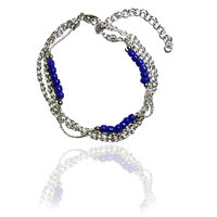 Beadworks Stunning Beaded Metal Bracelet in Blue Color