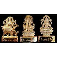 24 Carat Ganesh Laxmi Durga Gold Plated Idol - 3 Inches