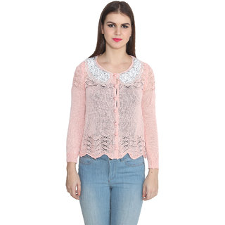 Lee Marc Pink Solid V-Neck Long Sleeve Woollen Cardigan