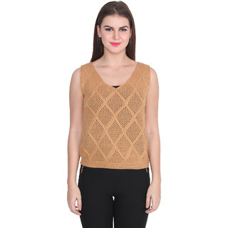 Lee Marc Brown Solid V-Neck Sleeveless Woollen Top
