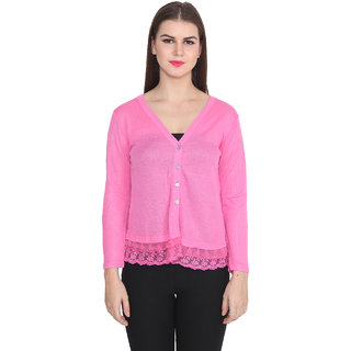 Lee Marc Pink Solid V-Neck Long Sleeve Woollen Top