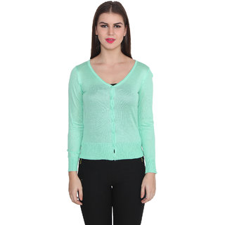 Lee Marc Green Solid V-Neck Long Sleeve Woollen Cardigan