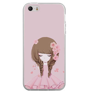 ifasho Girl  with Flower in Hair Back Case Cover for Apple Iphone 4