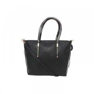 Saffron Craft Women's Black PU Leather Handbag