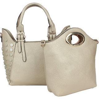 Saffron Craft Women's Gold PU Leather Bag in Bag Handbag