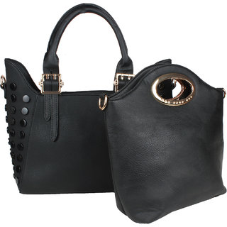 Saffron Craft Women's Black PU Leather Bag in Bag Handbag