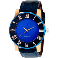 Svviss Bells Round Dial Blue Leather Strap Men Blue Watch