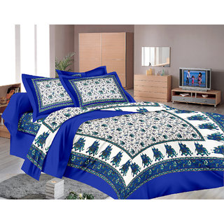 Lali Prints Traditional Hand Block 1 Single Bedsheet with 2 Pillow Covers