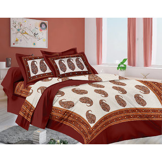 Lali Prints Jaipuri Designer Print 1 Single Bedsheet with 2 Pillow Covers