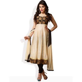Shah Wah Festive Beauty Anarkali Ready To Stitch Suit (Beige)