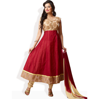 Shah Wah Rich Reverie Anarkali Ready To Stitch Suit (Dark Red)