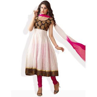 Shah Wah Pristine Glory Anarkali Ready To Stitch Suit (White)