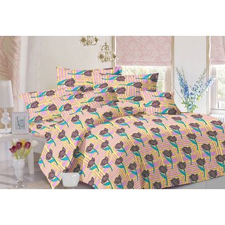 Valtellina Floral Design Pink Colour Cotton Double Bed Sheet with 2 Pillow Cover - TC-140