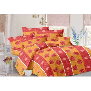 Valtellina Stripes Design Red Colour Cotton Double Bed Sheet with 2 Pillow Cover - TC-140