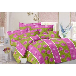 Valtellina Stripes Design Pink Colour Cotton Double Bed Sheet with 2 Pillow Cover - TC-140