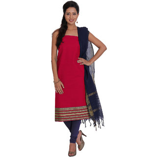 Platinum Red Zari Cotton Unstitched Dress Material