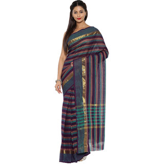 Platinum Present Multi Color Striped Work Pure Cotton Saree Without Blouse Piece