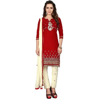 The Four Hundred Maroon  Cream Color Cotton Embroidery UnStitched Dress Material (BR-2077)