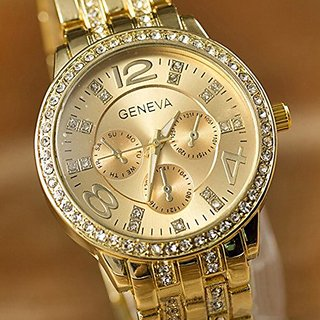 Geneva Luxury Gold Classic Round Crystal Ladies Watch