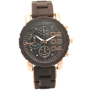 Coffee Brown Silicone and Rose Gold Steel Chronograph Large Numbers Triple Crown Trendy Women Watch