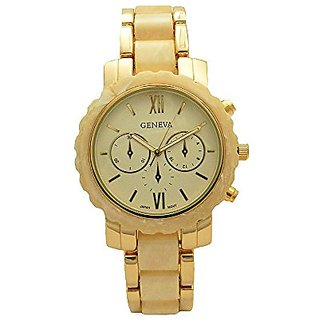 Pearl Gold Tone Roman Number Chrono Japan Movement Link Women Style Fashion Watch