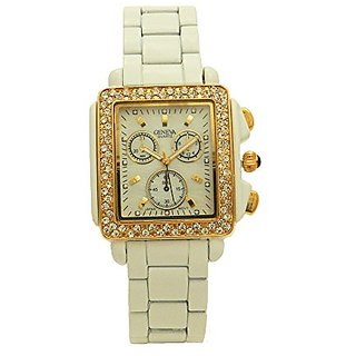 White Ceramic Band Gold Tone Crystal Encrusted Bezel Genuine Mother of Pearl Chronograph Women Watch