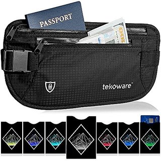 RFID Money Belt with 1 Passport and 6 Credit Card Protector Sleeves - Hidden Travel Wallet