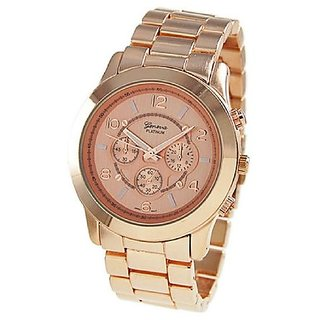 Geneva Mens or Womens Unisex Chronograph Style Watch in Rose Gold Tone
