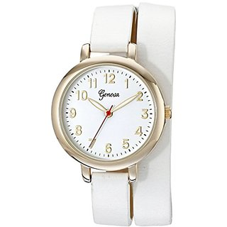 Geneva Womens 2438A-GEN Analog Display Analog Quartz White Watch