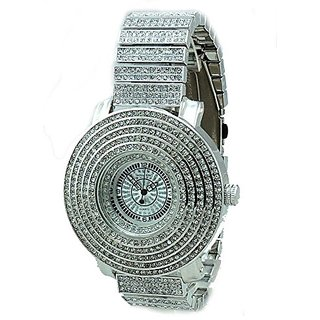 Totally Iced Out Pave Silver Tone Hip Hop Mens 6-Row Czs Bling Bing Watch-Over Size