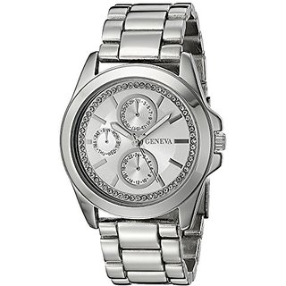 Geneva Womens FMDJM121 Analog Display Quartz Silver Watch