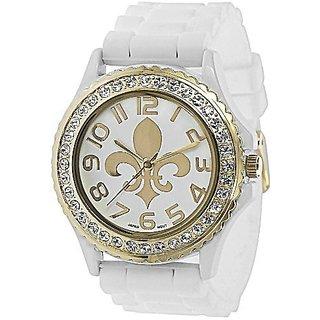 Geneva Platinum 6886 Womens Rhinestone Fleur De Lis Silicone Watch